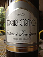 Recommendation: Not Recommended. Winery/Producer: Ferrari Carano Mountain  Winery; Geyserville, California. Grape Variety: Cabernet Sauvignon